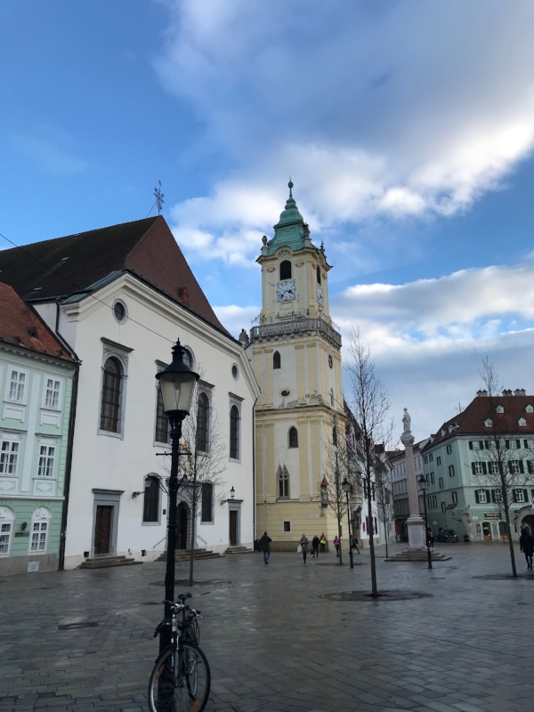 One of the main squares in Bratislava, Slovakia