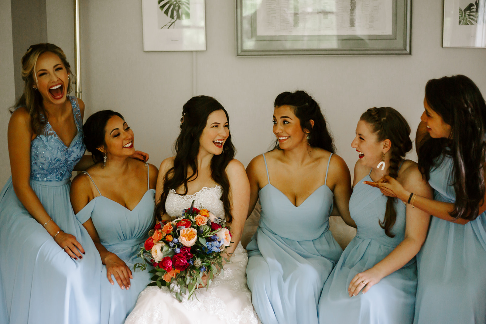 My bridesmaids and I getting ready before the ceremony