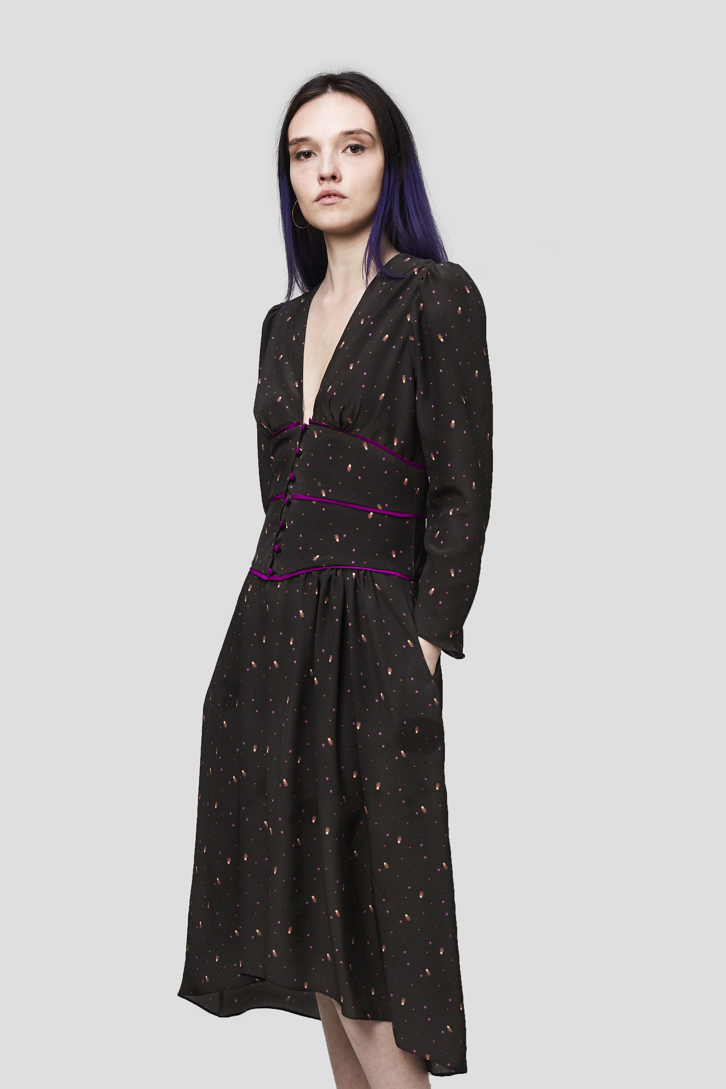 - Matryoshka Print Silk Dress