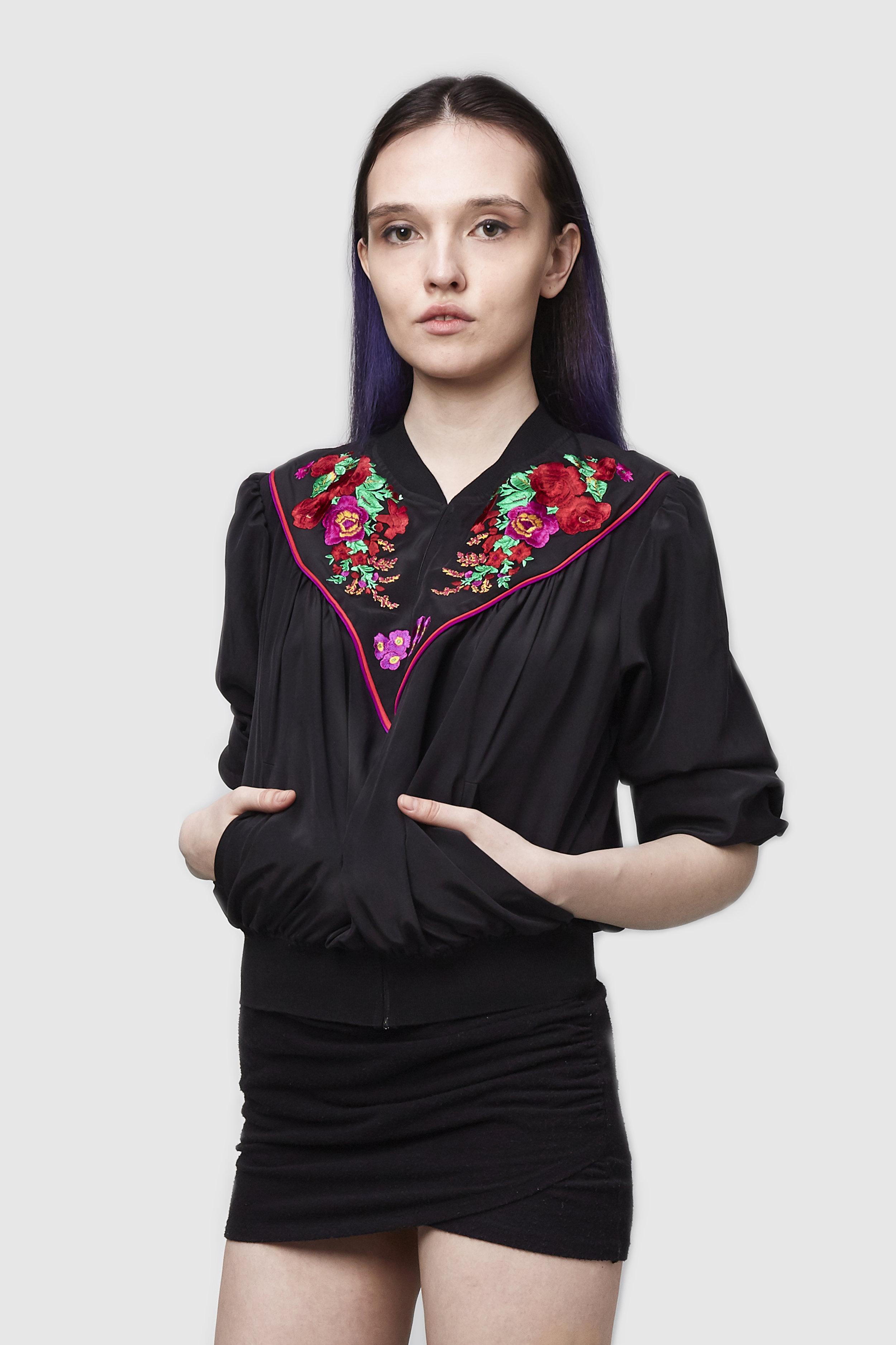 - The Babushka Scarf Embroidered Silk Bomber