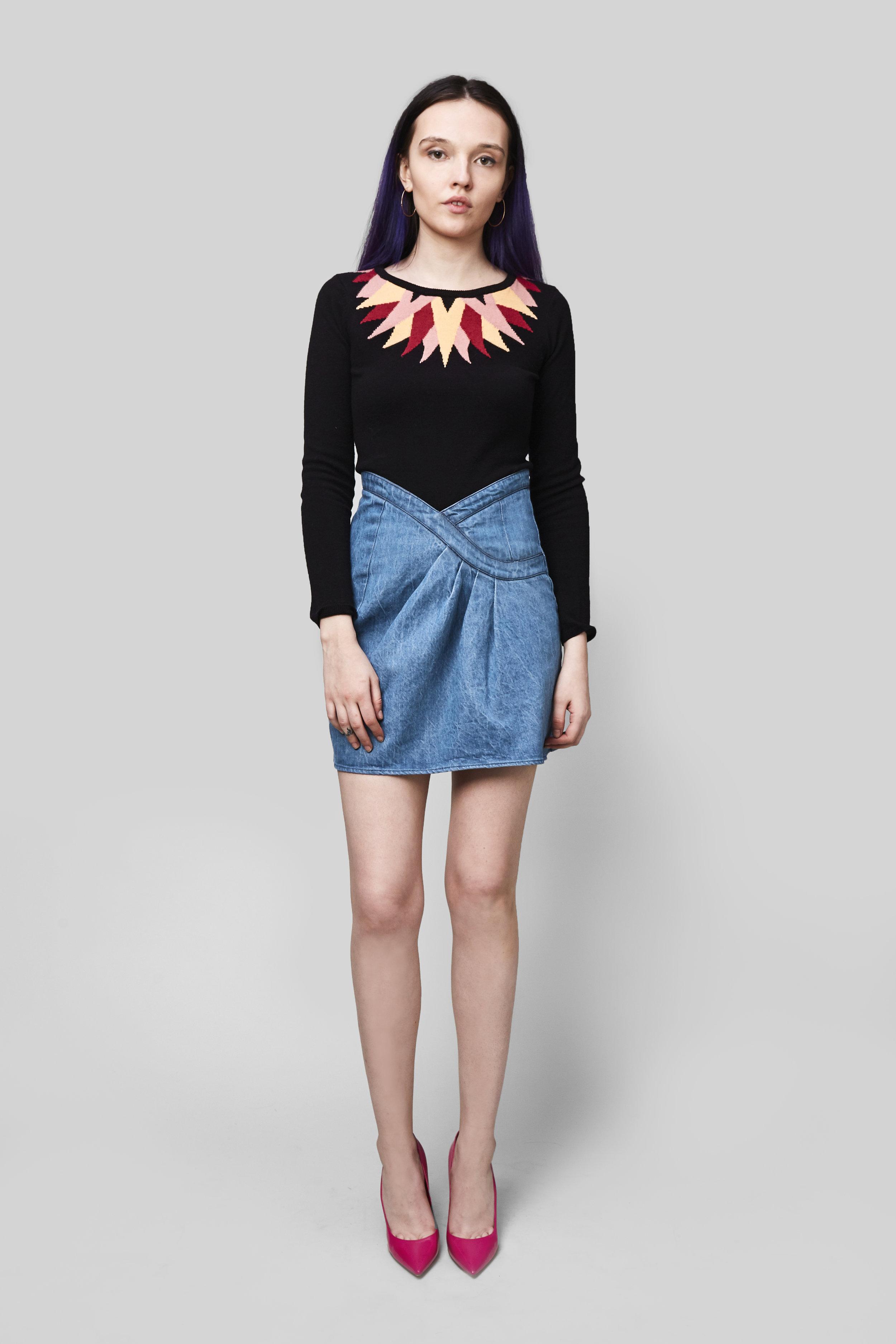 - The Starburst Intarsia SweaterThe Lina Hemp Denim Skirt