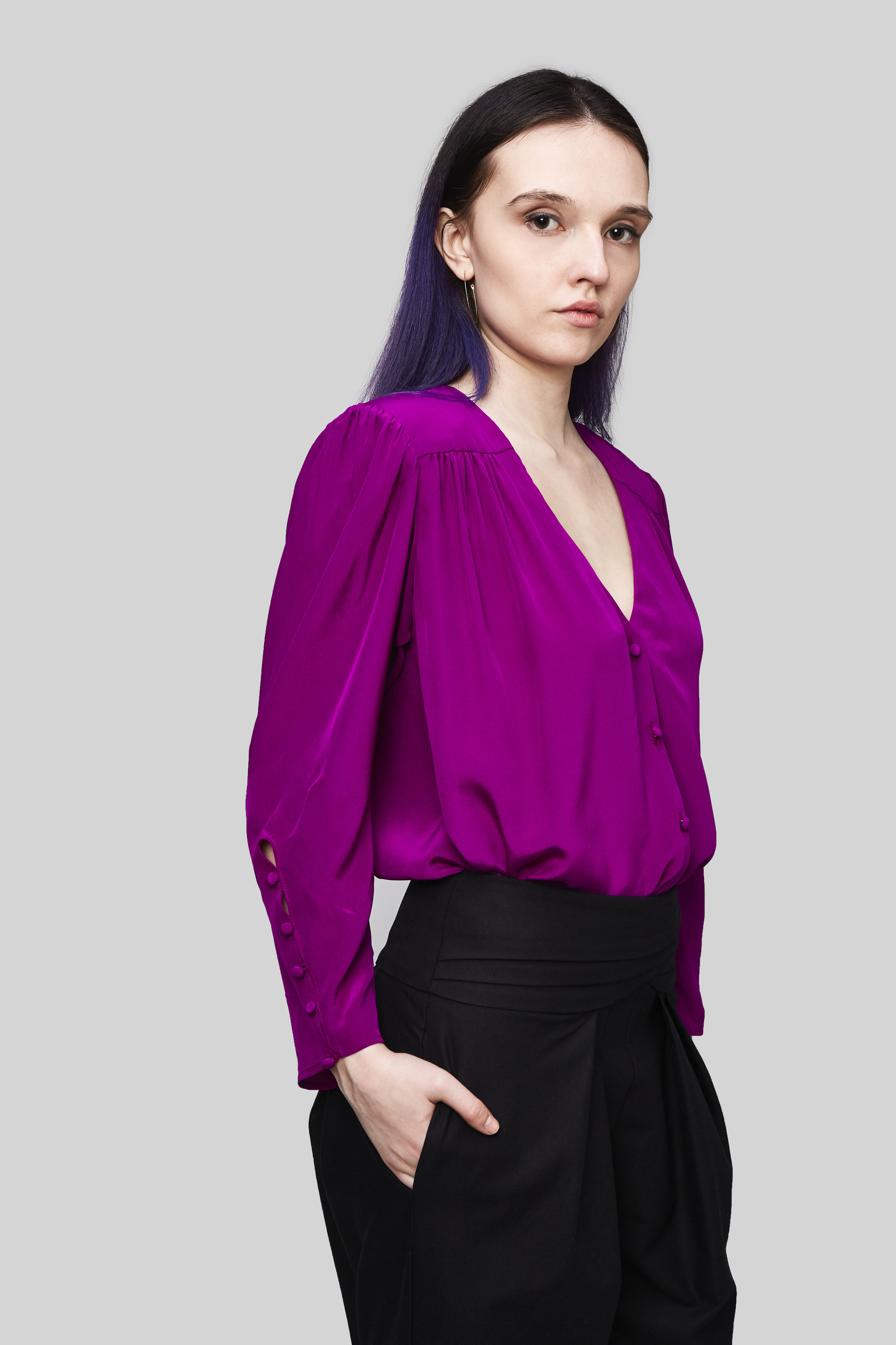 - The Mila Shoulder Pad BlouseOrganic Cotton Twill High Waisted Pant