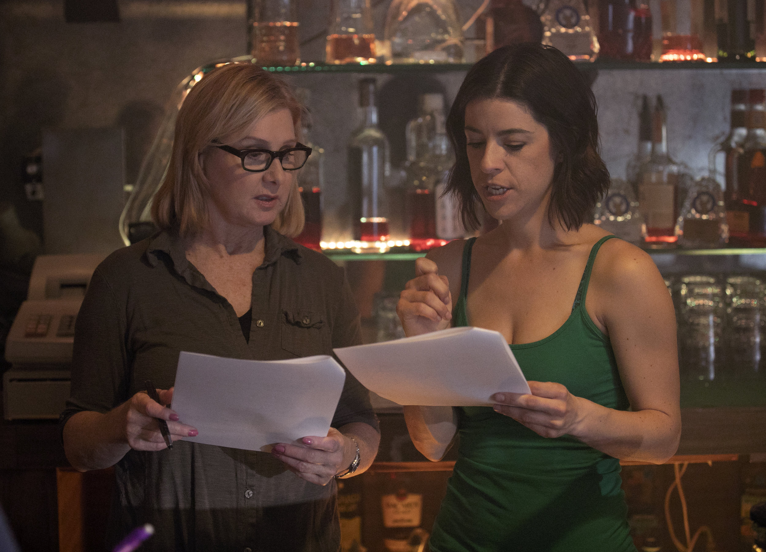 Mary Carrig (Annie) and Nina Brissey working the first scene of the movie.
