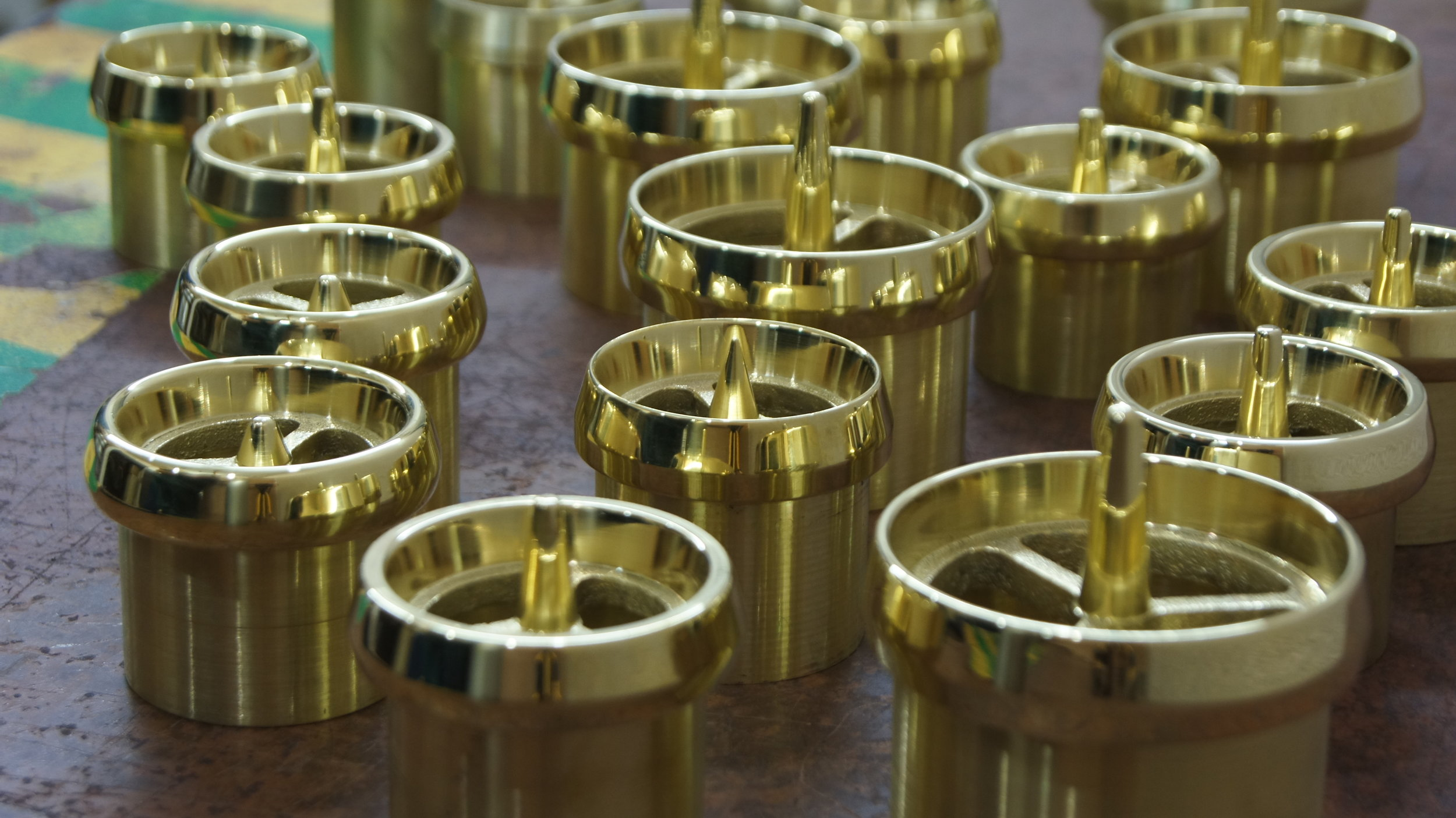 Cast brass exhaust tips. The anti chrome.  Custom machined to fit your exhaust needs.