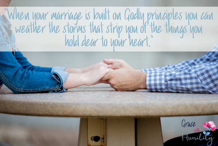 """Quote: """"When your marriage is built on Godly principles you can weather the storms that strip you of the things you hold dear to your heart."""" #godlymarriage #christianmarriage #marriegewisdom #marriageadvice #weatheringstorms #godlyprinciples #marriage"""