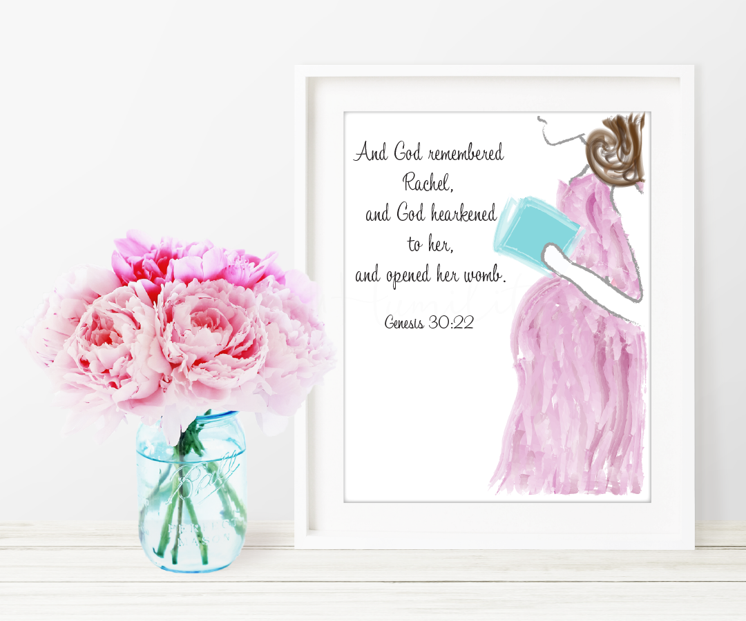 "Genesis 30:22 Printable Art   ""And God remembered Rachel, and God hearkened to her, and opened her womb."" –Genesis 30:22. This printable is dedicated to all the women who have experienced infertility.      *You will not receive a physical product.   **Picture frame not included  *** Not for Resale    ****Free to download    File Specifications   (1) Downloadable  PDF  printable  US Letter size 8x10in  Prints in high quality 300dpi (actual color may vary due to the calibration of your screen)"