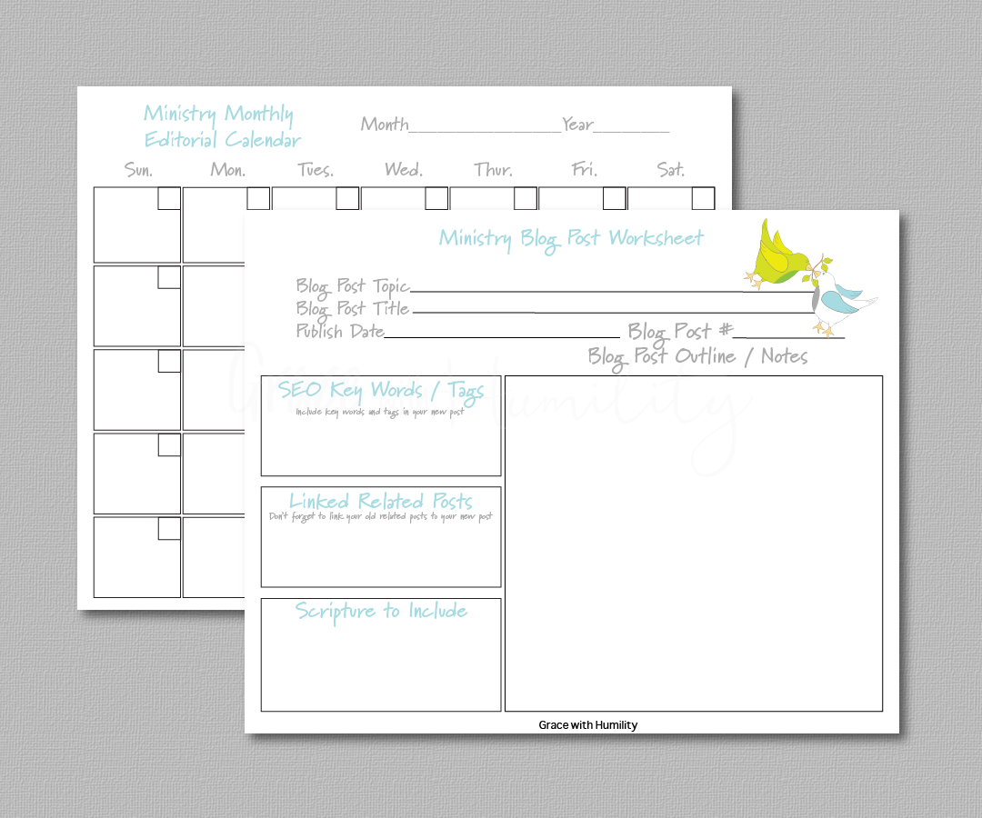 Ministry Editorial Planner Printable   If you have an online ministry then my  Ministry Editorial Planner  will not only help you brainstorm topic ideas, but it help you keep track of uploading your post on social media.      *You will not receive a physical product.   **Not for Resale    ****Free to download    File Specifications   *PDF   *US Letter size 11x8.5in  *Prints in high quality 300dpi (actual color may vary due to the calibration of your screen)  What's included in this  Ministry Editorial Planner Printable ?  (1) Monthly Calendar (1) Weekly Calendar (1) Blog Post Worksheet (1) Video Post Worksheet (1) Posting Checklist (1) Brainstorming Worksheet (1) Tab Cutouts Worksheet (1) Sticker sheet