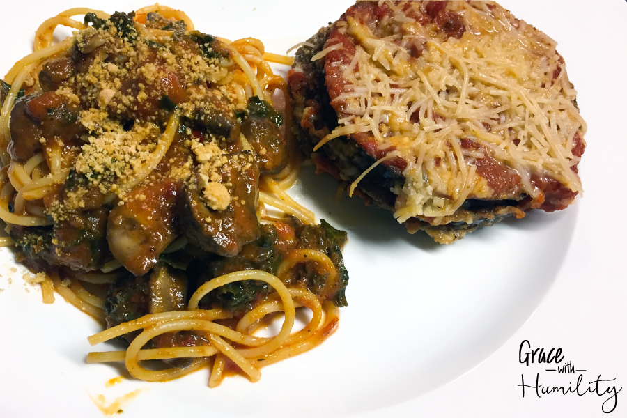 Layered fried eggplant parmesan with a side of pasta – www.gracewithhumility.com