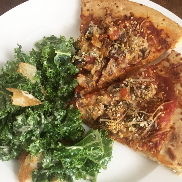 Homemade veggie pizza with caesar salad – www.gracewithhumility.com