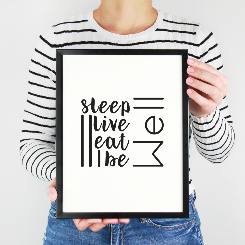 """Minimalist art printable """"Sleep, live, eat, be well"""" available at   printables by nic"""