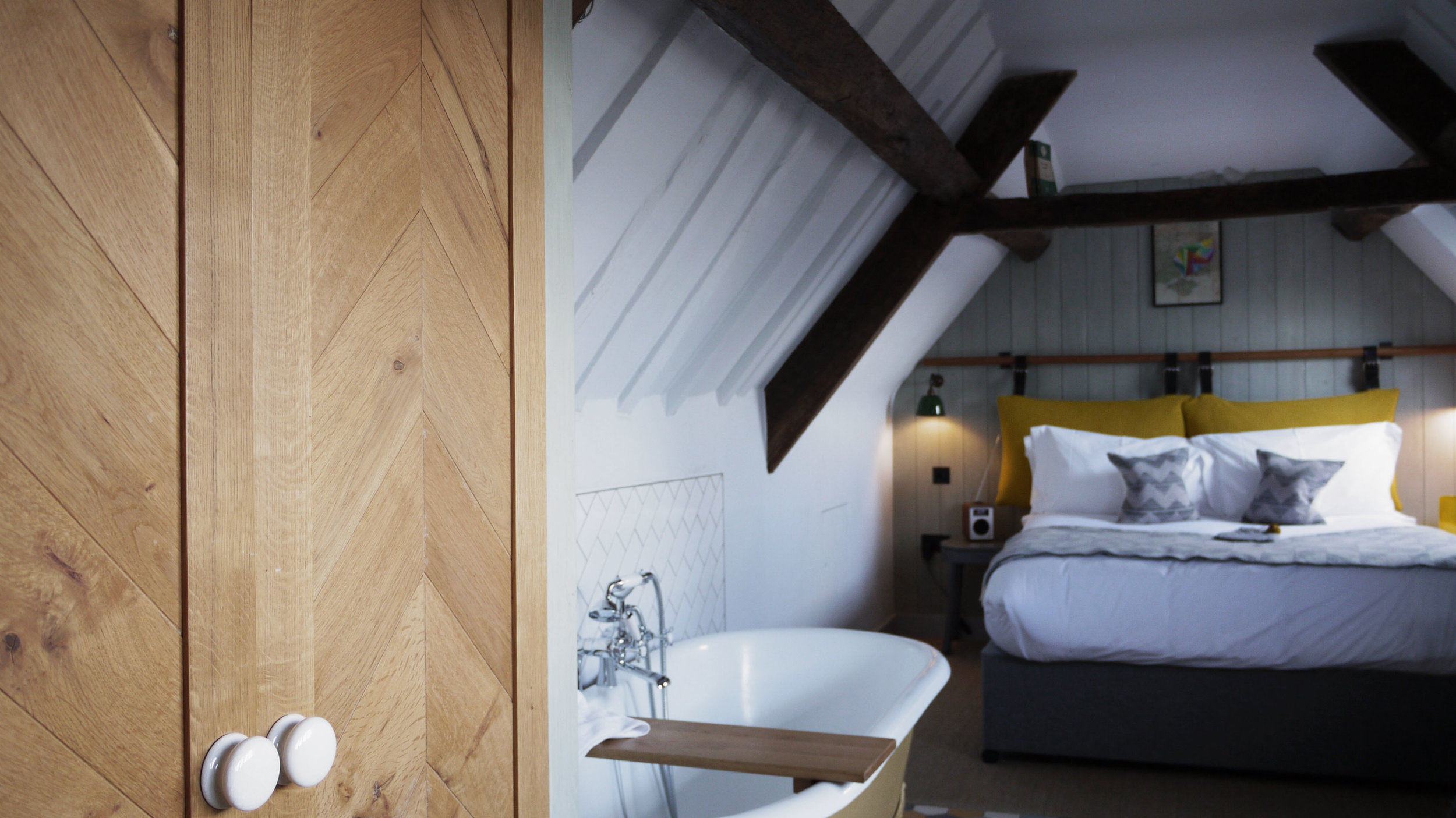 On our most recent stay we were lucky enough to have room 12 which had a freestanding bath which was such a nice feature to the room. The bed was really big and super comfy with some beautiful additional features – including  Tori Murphy cushions.