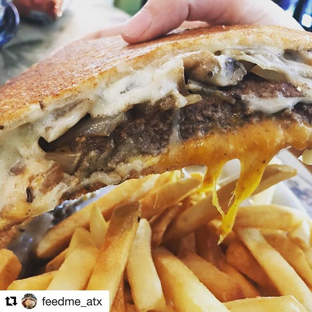 #Repost @feedme_atx ・・・ Absolutely LOVED this Patty Melt at @neworldeli  Gooey and delicious! ~ cheese, mushrooms, caramelized onions ❤️ #sandwhich #sandwich #pattymelt #deli #delicious #delifood #meltedcheese #cheese #atxfood #austinfood #texasfood #texasfoodie