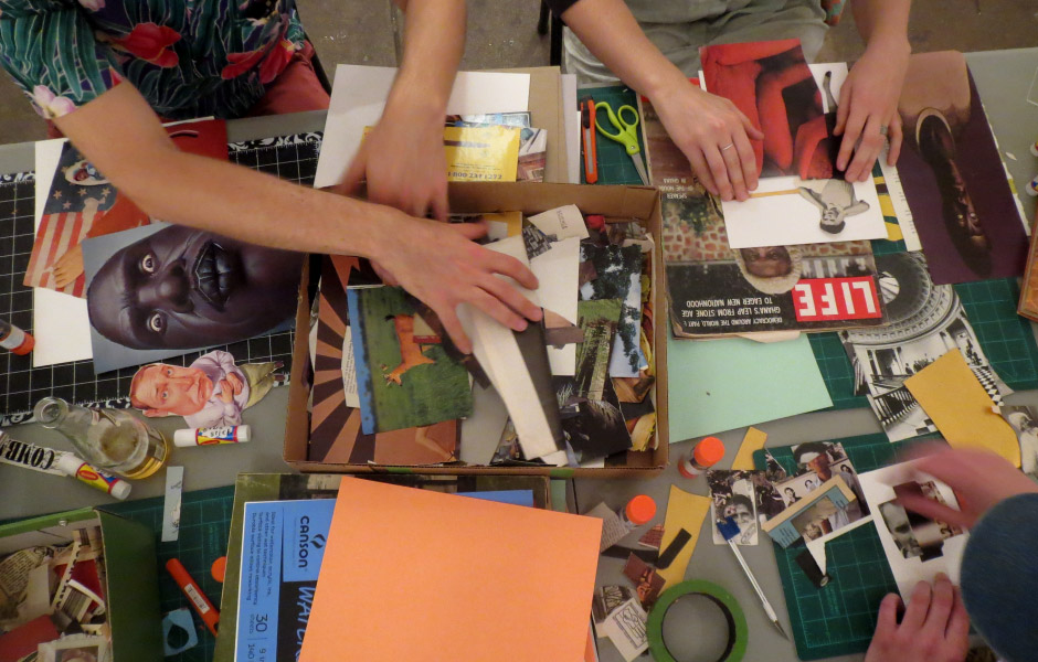 lots folks seemed to enjoy collaging. (photo taken by Tiny Town Surplus & Gallery)