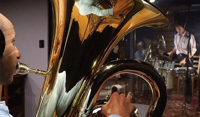 Creative shooting by @leodale Of Luke Farrugia laying down tracks with Gavin Gray. . #oxocubans #wefo #wefostudios #studiosession #newtunes #tuba #reflection