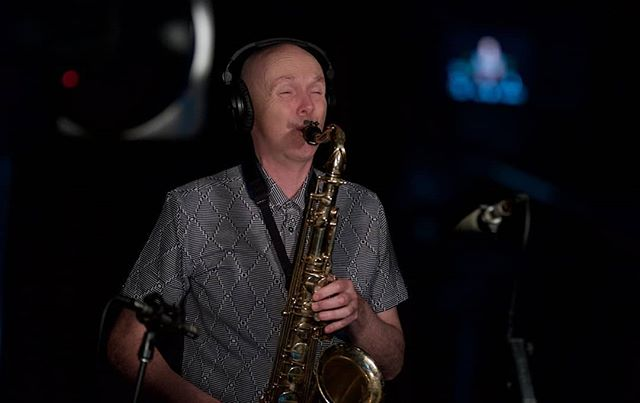 Leo Dale in his own studio...we think this recording his own song too! #roundaboutofdeath . . . #oxocubans #wefostudios #wefo #recording #studio #sessionmusician #sax #saxophone