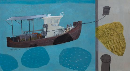 Elaine Pamphilon - Boat with Yellow Nets (diptych)