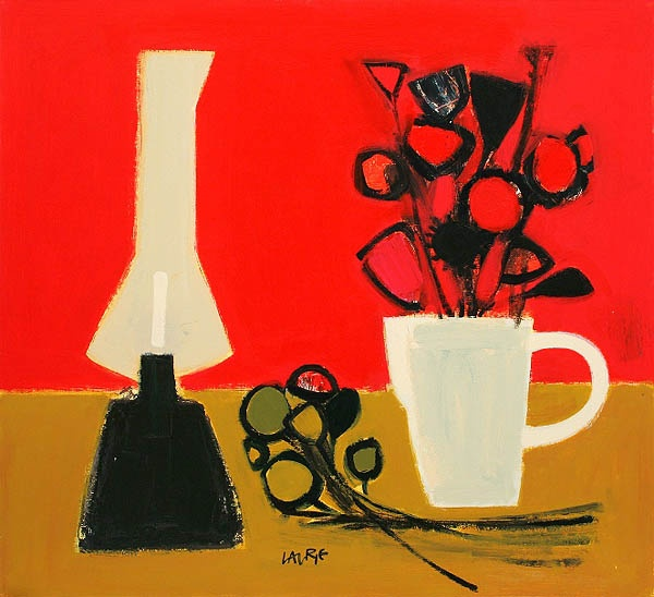 Simon Laurie, Pink and Ochre Still Life