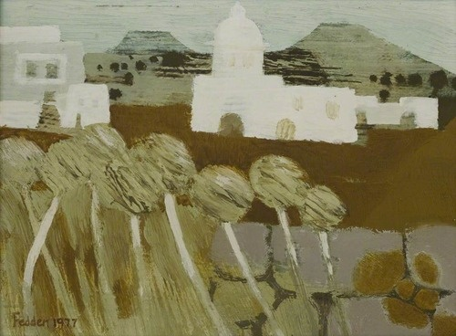 Mary Fedden - White Church in a Landscape