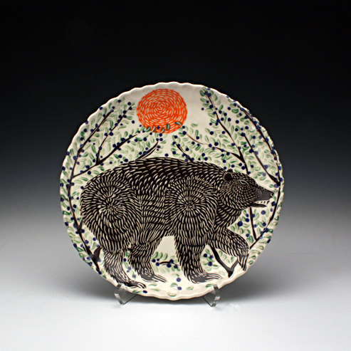 Sue Tirrell - dinner plate with a bear
