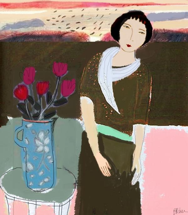 Barbara Perrine Chu - Lady with Pink Tulips - work in progress