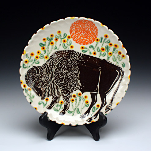 Sue Tirrell - lunch plate with a bison