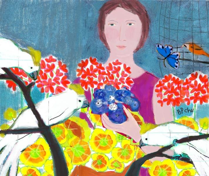 Barbara Perrine Chu - Woman with Geraniums and Cockatoos