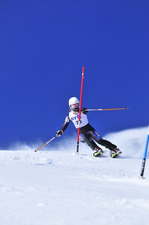 A great shot by Steve Monk of me racing Slalom on the World Cup Race Piste in Meribel, France