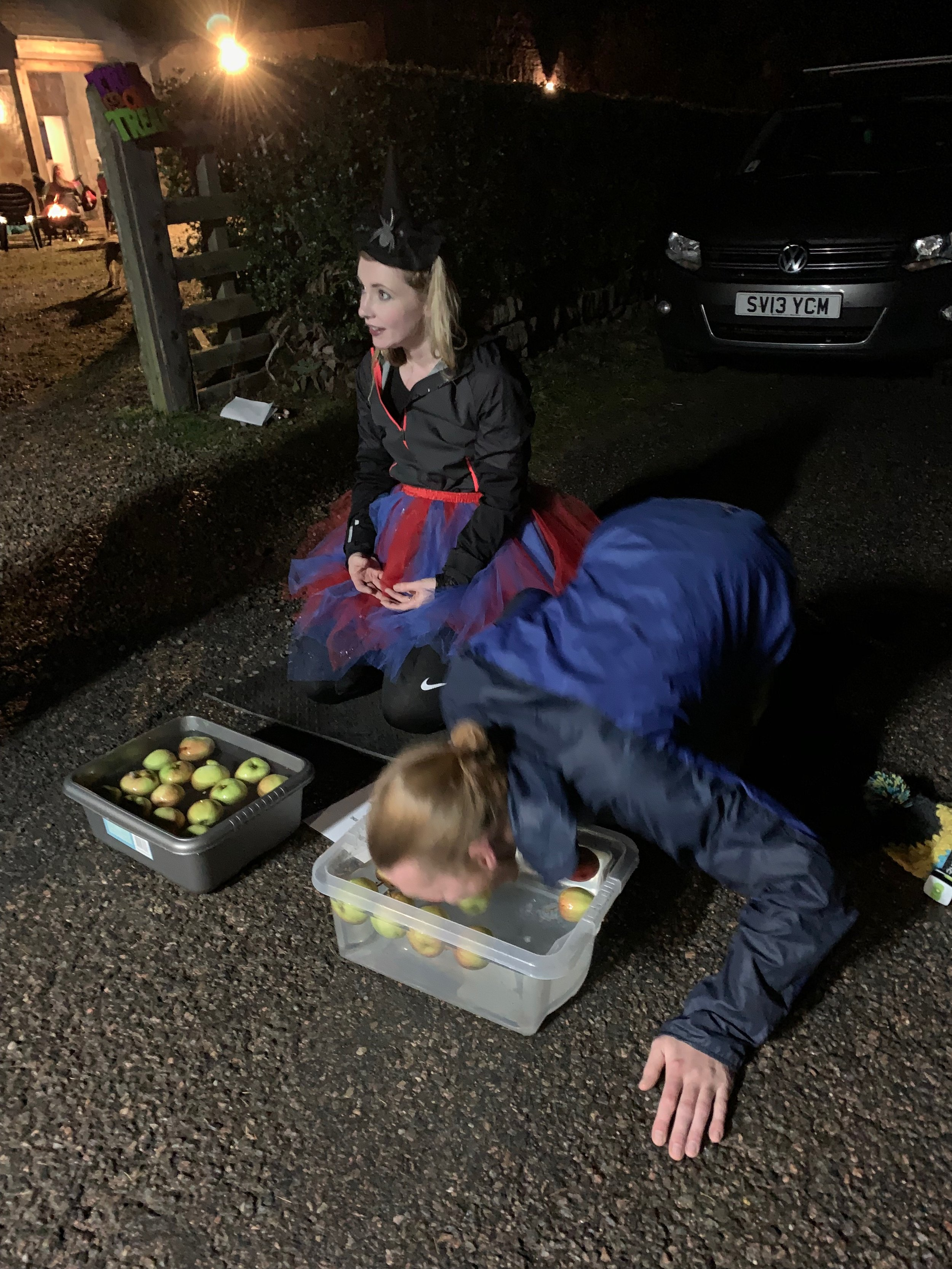 Apple Bobbing - Key to finishing and getting a pizza!