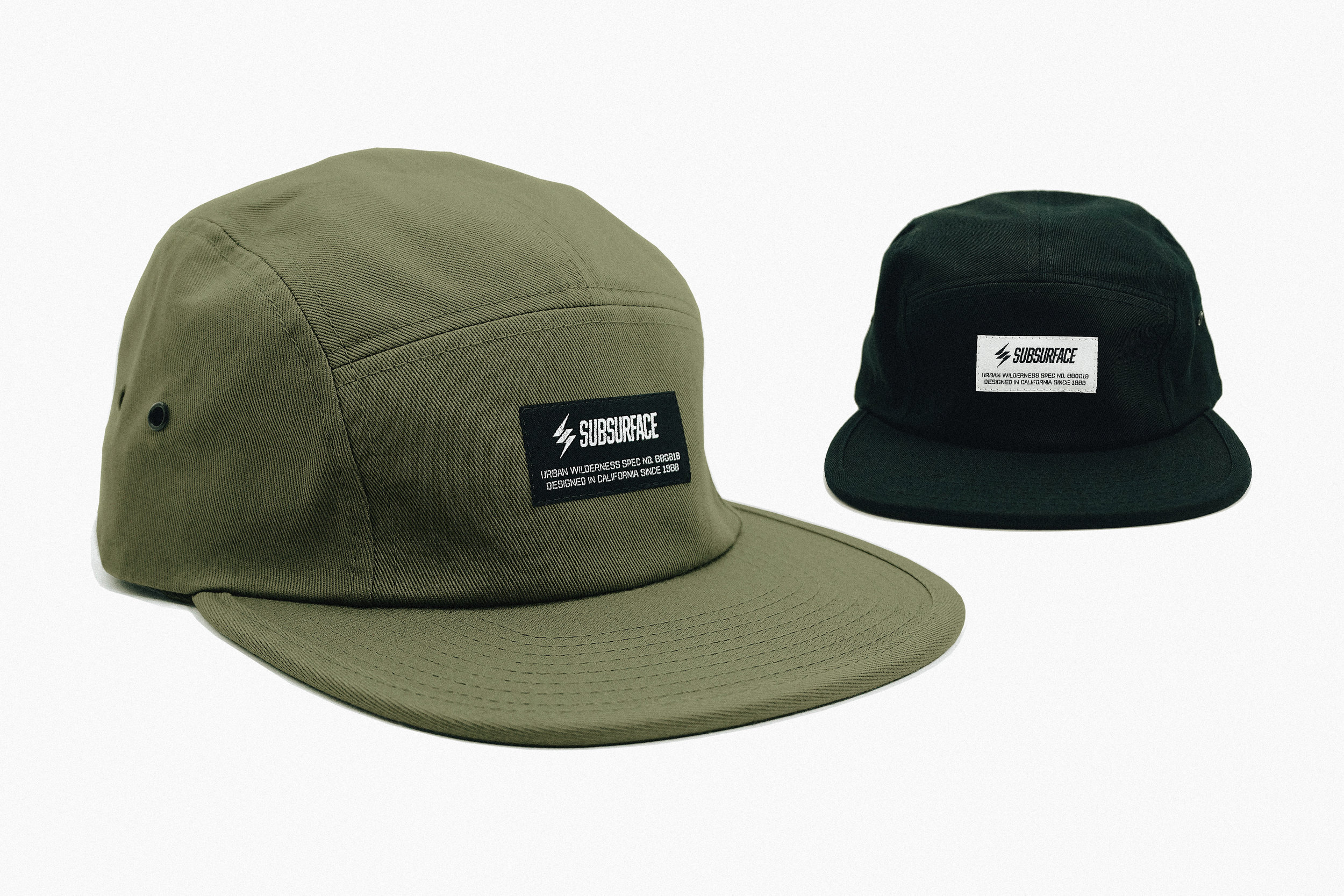 The Camper Hat - [SKU #SUB00011] - Unstructured 5 Panel Crown with Signature Woven Labels / Low Profile Camper Style / Flat Visor / Adjustable Nylon Clip Closure / One Size Fits All / 100% Cotton