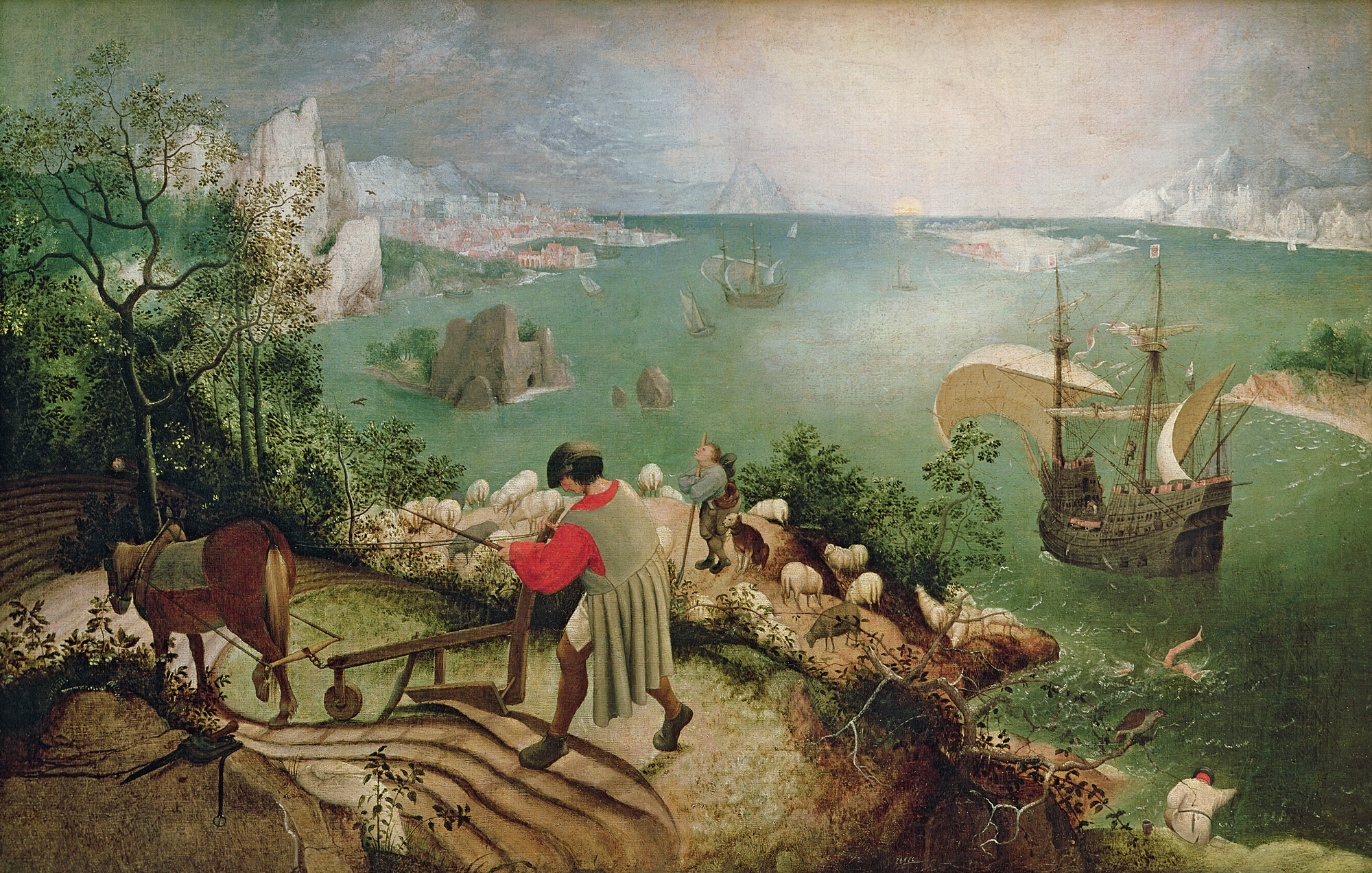 Landscape with the Fall of Icarus , Pieter Bruegel the Elder, oil on canvas, c. 1555.