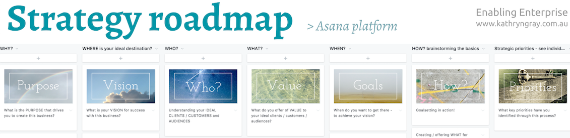 Here's one way I work with clients with Asana for a Strategy Roadmap. I will soon create a little screen-share video introducing the Roadmap via this platform too :)