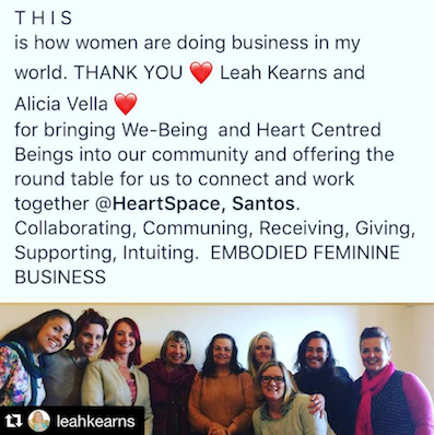 A glorious moment captured by    Aesha Henderson   , after we wrapped up a coworking event with    WE-Being    in Mullumbimby, co-facilitated by Leah Kearns and    Alicia Vella    - thank you all!