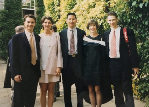 1995: Earn my Masters in Literature from Middlebury. Friends in England and Raymond help me celebrate.