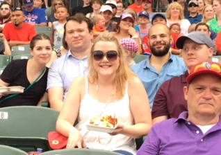 Megan at a Round Rock Express game with the Slide team in the summer of 2015.