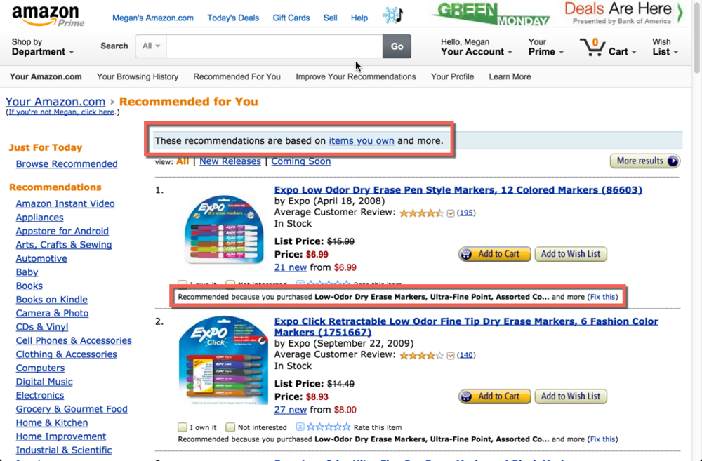 """The subheading on the Recommended for You page lets us know that the recommendations come from items we own and more and are not just random recommendations. There's also """"Recommended because..."""" reason beneath each product recommendation."""