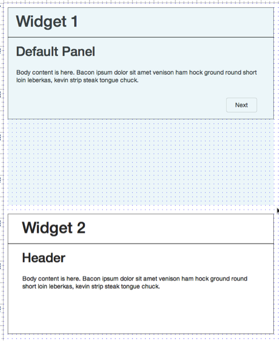An inelegant solution adds white space to account for Widget 1 State 2 height.