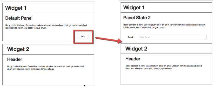Widget 2 is overlapping the content in Widget 1 State 2 instead of Pushing/Pulling as expected.