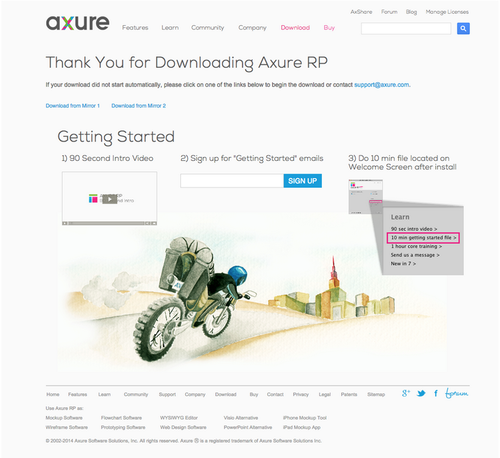 Axure's Thank You for Downloading page provides several options for getting started.