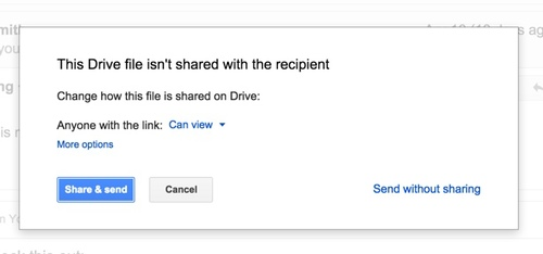 Google Drive warns you if an attached Drive file is not shared with the recipients.
