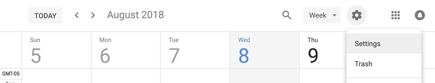 Google Calendar Settings Icons