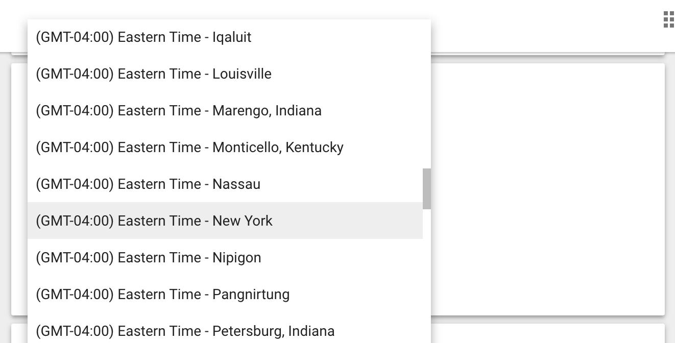 Google Calendar Time Zone Options
