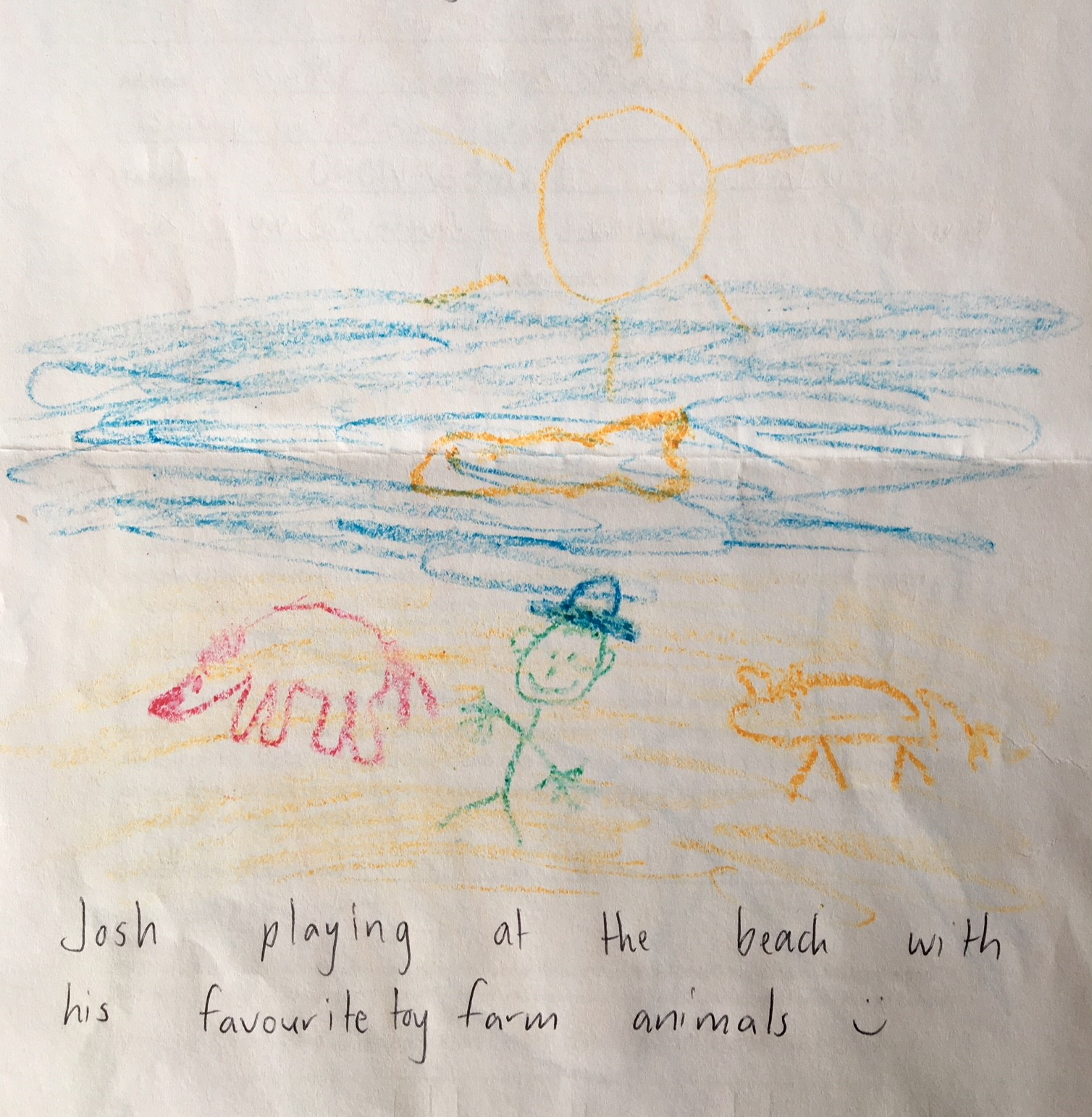 Joshua's drawing of his stay at the Family Retreat