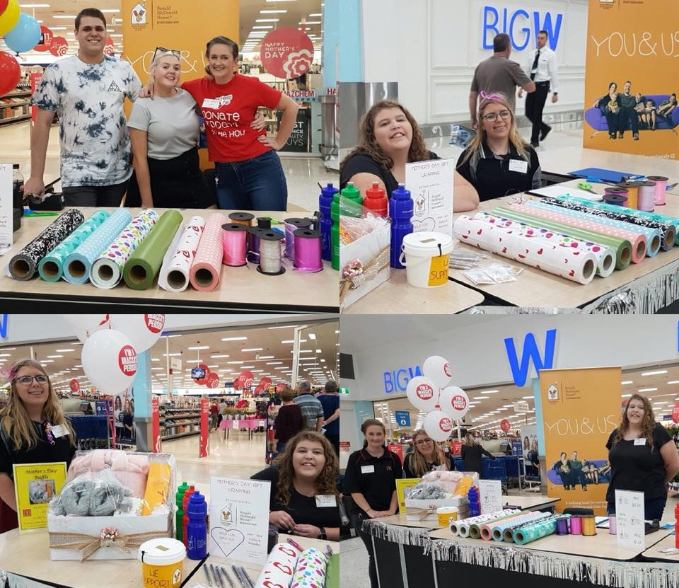 In May, the awesome McDonald's crew from Port Macquarie helped raise funds for Ronald McDonald House.    These friendly faces could be found outside Big W Port Macquarie at   Settlement City   wrapping Mother's Day gifts for a gold coin donation.
