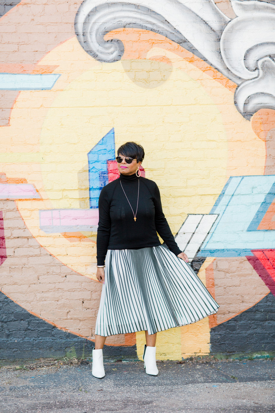 macys white booties stripe skirt.jpg