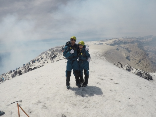 Kaity and I after hiking Villarrica Volcano in Pucon, Chile