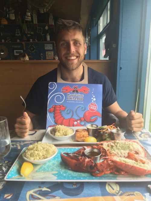 Delicious Lobster Meal To Break A 16 Hour Fast in Gaspé