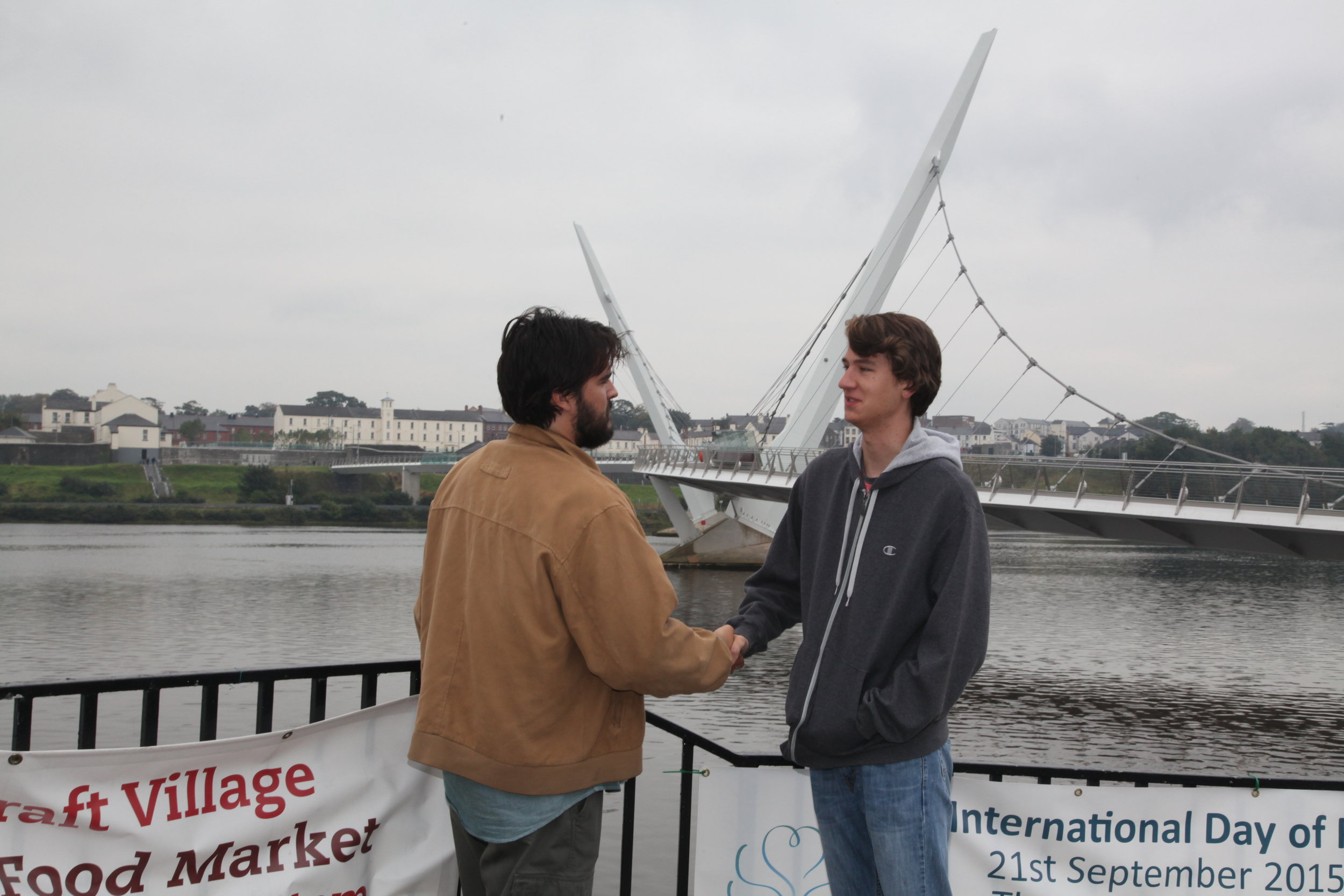 Kyle and David at the Friendship Bridge in Londonderry, Northern Ireland