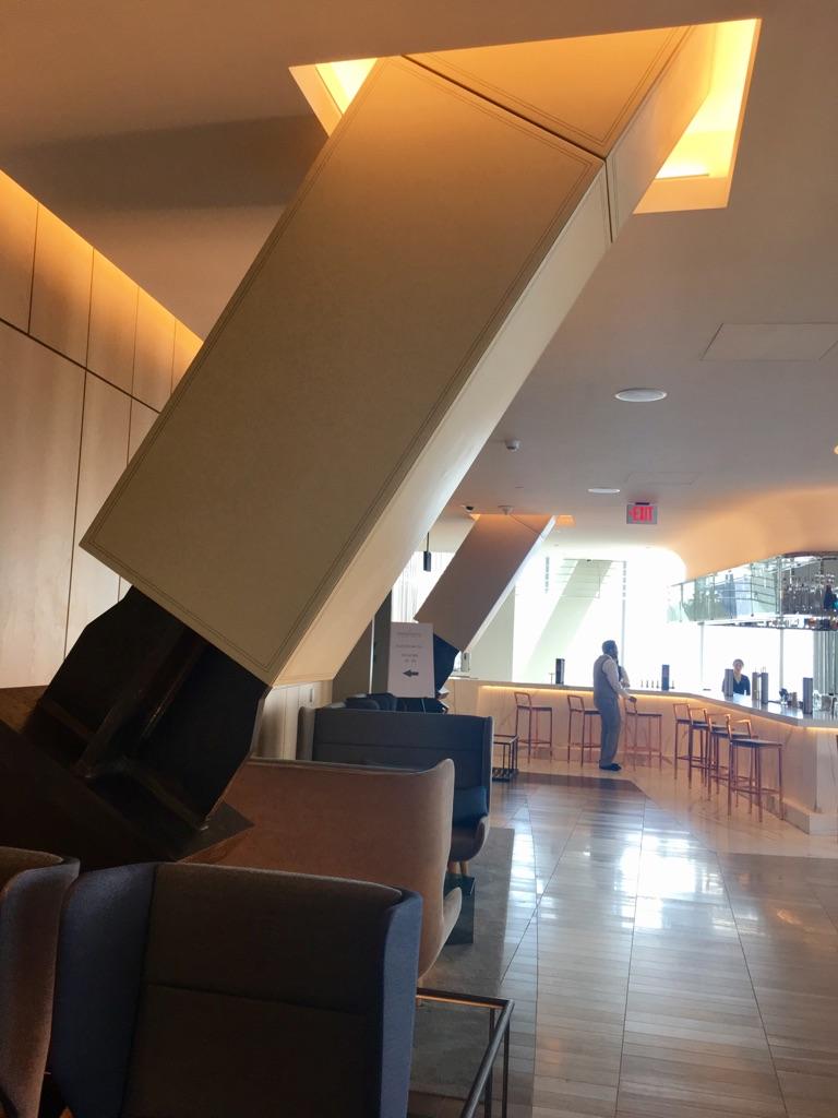Lobby leather covered brace beam