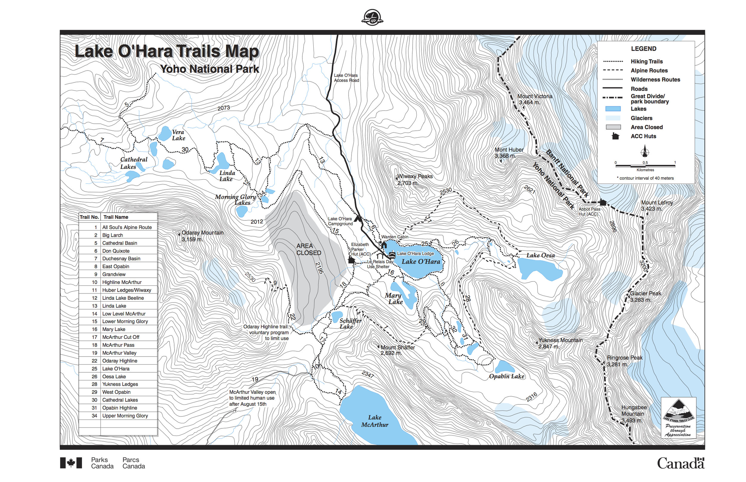 Map courtesy of  Parks Canada