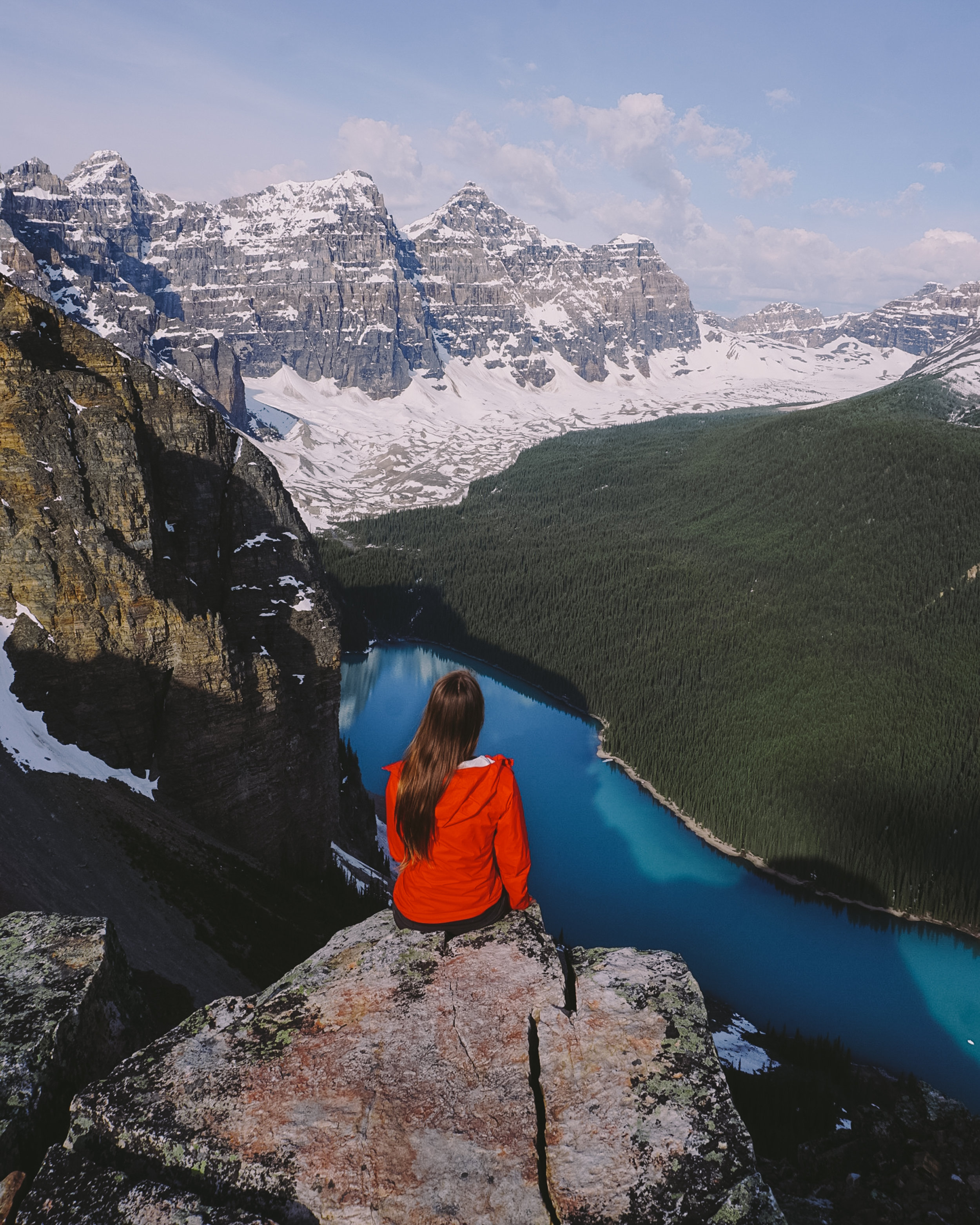 An early season ascent of Tower of Babel looking over Moraine Lake.